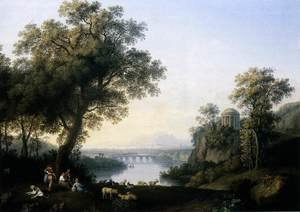 Famous paintings of Dogs: Landscape with River 1778