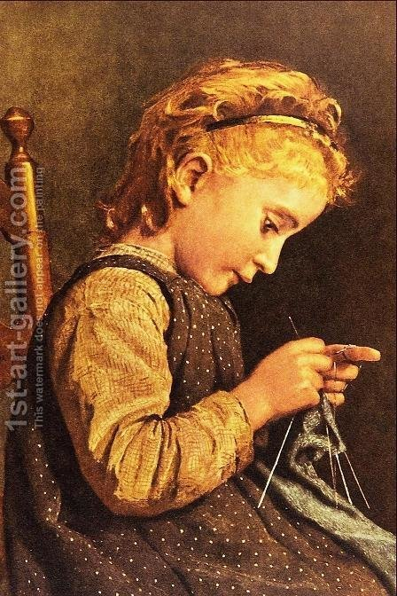 Little Girl Knitting by Albert Anker - Reproduction Oil Painting