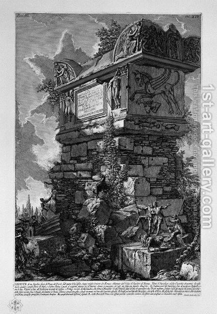 The Roman antiquities, t. 3, Plate XIV. View of a tomb outside Porta del Popolo on the ancient Via Cassia called by the vulgar the tomb of Nero. by Giovanni Battista Piranesi - Reproduction Oil Painting