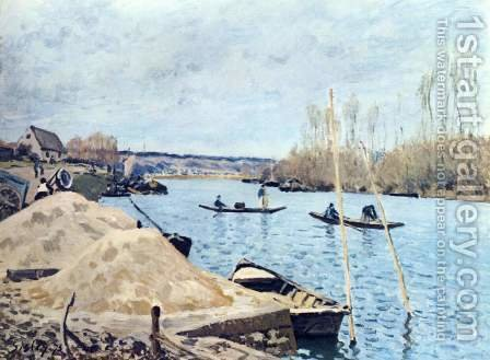 The Seine at Port Marly sand piles by Alfred Sisley - Reproduction Oil Painting