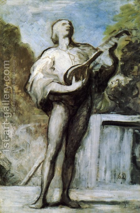 The Troubadour by Honoré Daumier - Reproduction Oil Painting