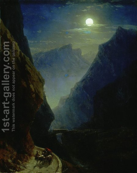 Darial Gorge. Moon night by Ivan Konstantinovich Aivazovsky - Reproduction Oil Painting