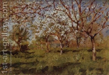 Apple trees in blossom by Isaak Ilyich Levitan - Reproduction Oil Painting