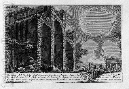 The Roman antiquities, t. 1, Plate XVII. Aqua Claudia. by Giovanni Battista Piranesi - Reproduction Oil Painting