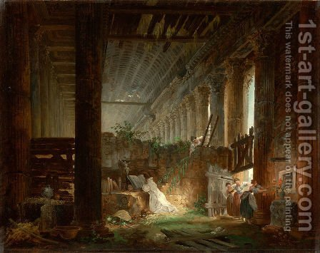 A Hermit Praying in the Ruins of a Roman Temple by Hubert Robert - Reproduction Oil Painting