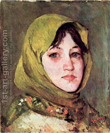 Peasant Woman with Green Headscarf by Ion Andreescu - Reproduction Oil Painting