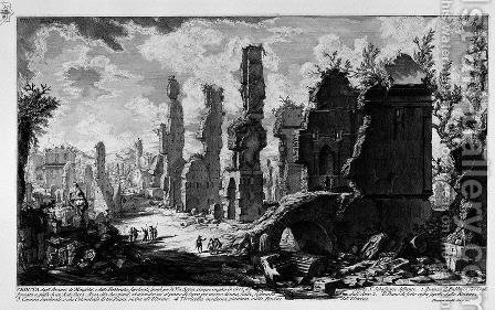 The Roman antiquities, t. 3, Plate VIII. View the remains of 'Mausoleums and tombs scattered factories on the Appian Way, five miles from the Porta S. Sebastiano. by Giovanni Battista Piranesi - Reproduction Oil Painting