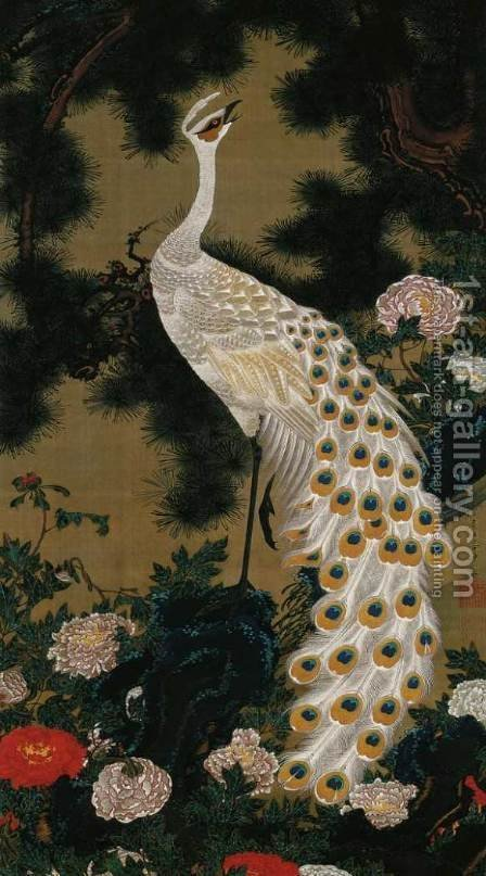 Old Pine Tree and Peacock by Ito Jakuchu - Reproduction Oil Painting
