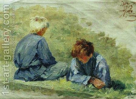 The boys on the grass by Ilya Efimovich Efimovich Repin - Reproduction Oil Painting