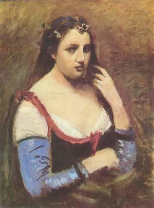 Reproduction oil paintings - Jean-Baptiste-Camille Corot - Woman with Daisies