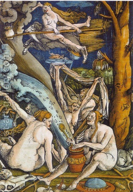 Witches Sabbath 1508 by Hans Baldung  Grien - Reproduction Oil Painting