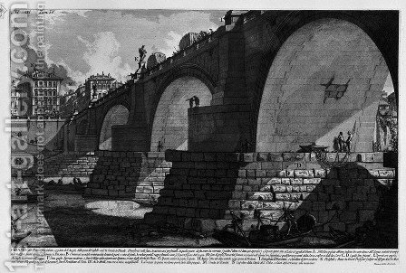 The Roman antiquities, t. 4, Plate XIII. Cross-section and construction details of Bridge St. Angel etc.. by Giovanni Battista Piranesi - Reproduction Oil Painting