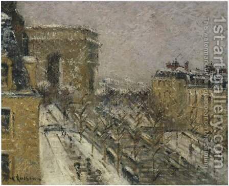 Arc de Triomphe in the Snow by Gustave Loiseau - Reproduction Oil Painting