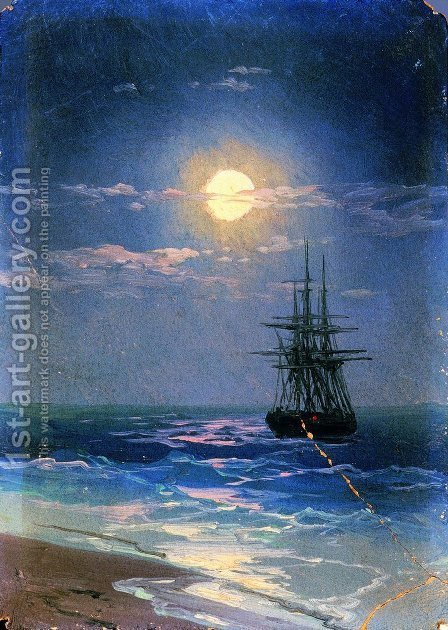 Sea at night 3 by Ivan Konstantinovich Aivazovsky - Reproduction Oil Painting