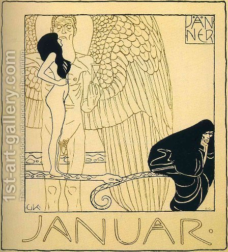 Januar by Gustav Klimt - Reproduction Oil Painting