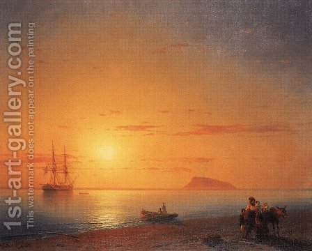Sea coast. Farewell by Ivan Konstantinovich Aivazovsky - Reproduction Oil Painting