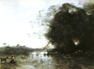 Reproduction oil paintings - Jean-Baptiste-Camille Corot - The Swamp near the Big Tree and a Shepherdess