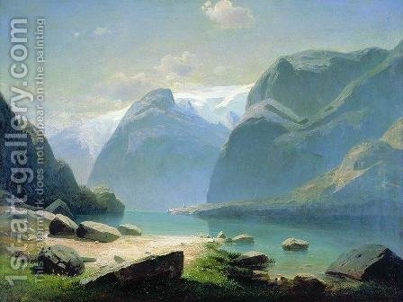 Lake in the Swiss mountains by Alexei Kondratyevich Savrasov - Reproduction Oil Painting