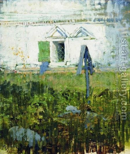 By the wall of church by Isaak Ilyich Levitan - Reproduction Oil Painting