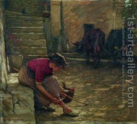 Going out with the Cows by Henry Herbert La Thangue - Reproduction Oil Painting