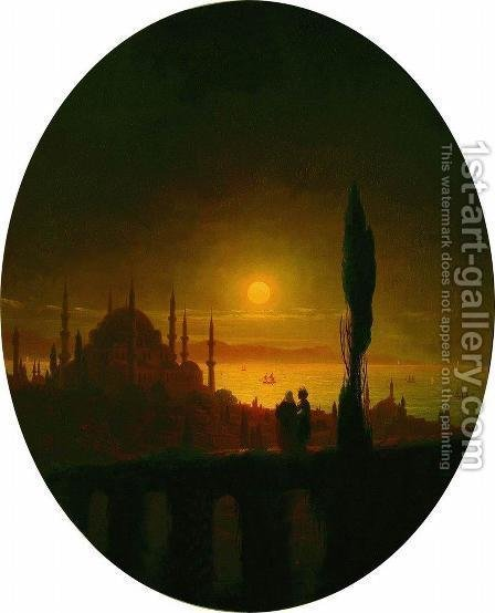 Moonlit night beside the sea by Ivan Konstantinovich Aivazovsky - Reproduction Oil Painting