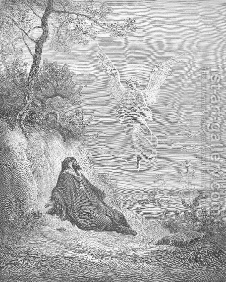 Elijah Is Nourished by an Angel by Gustave Dore - Reproduction Oil Painting