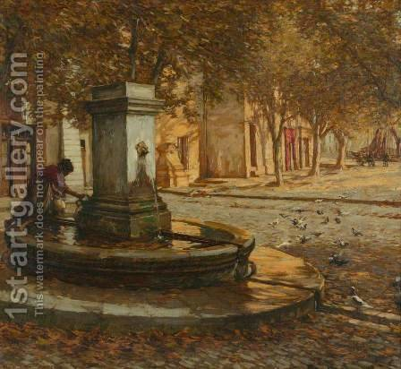 A Provencal Fountain by Henry Herbert La Thangue - Reproduction Oil Painting