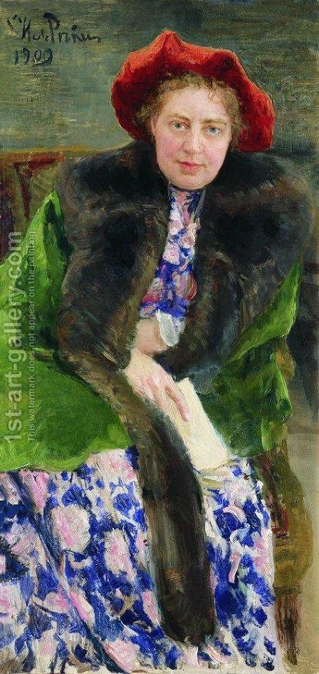 Portrait of Nadezhda Borisovna Nordman-Severova by Ilya Efimovich Efimovich Repin - Reproduction Oil Painting