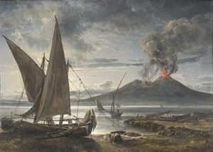 Famous paintings of Ships & Boats: Boats on the Beach Near Naples