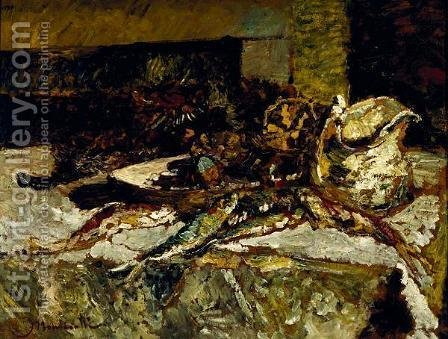 Still Life with Sardines and Sea-Urchins by Adolphe Joseph Thomas Monticelli - Reproduction Oil Painting