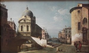 Famous paintings of Nautical: Venetian Capriccio, View of Santa Maria dei Miracoli