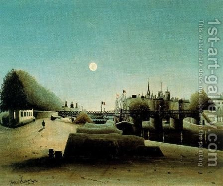 A View of the Ile Saint Louis from Port Saint Nicolas Evening by Henri Julien Rousseau - Reproduction Oil Painting