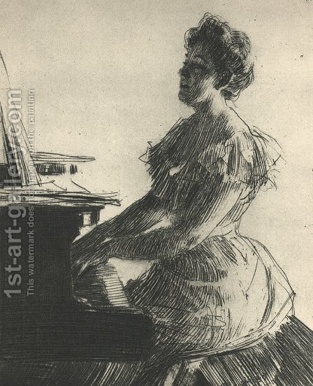 At the Piano by Anders Zorn - Reproduction Oil Painting