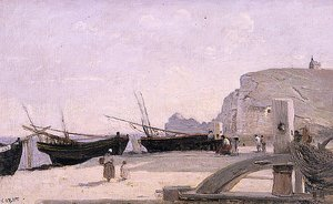 Reproduction oil paintings - Jean-Baptiste-Camille Corot - The Beach, Etretat