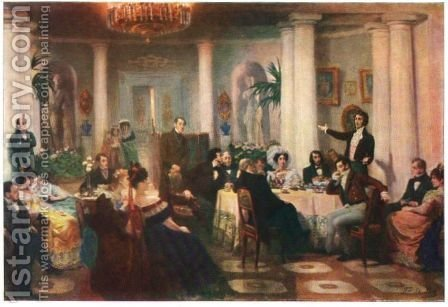 Pushkin and his friends listen to Mickiewicz in the salon of Princess Zinaida Volkonskaya by Grigori Grigorievich Mjasoedov - Reproduction Oil Painting