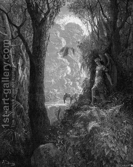 Satan in Paradise by Gustave Dore - Reproduction Oil Painting