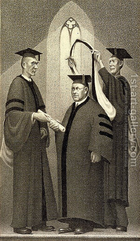 Honorary Degree by Grant Wood - Reproduction Oil Painting