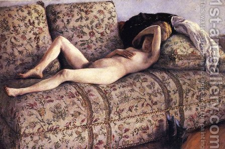 Nude on a Couch by Gustave Caillebotte - Reproduction Oil Painting