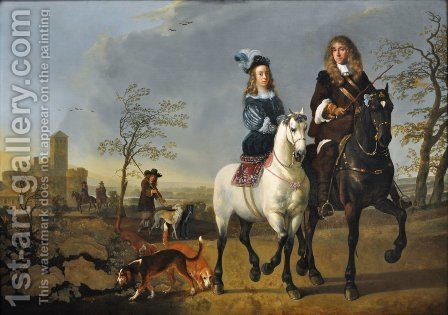 Lady and Gentleman on Horseback by Aelbert Cuyp - Reproduction Oil Painting