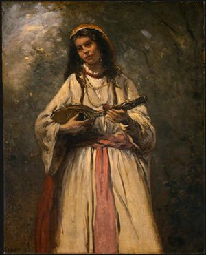 Reproduction oil paintings - Jean-Baptiste-Camille Corot - Gypsy Girl with Mandolin