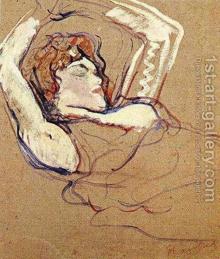 Woman Lying on Her Back, Both Arms Raised by Toulouse-Lautrec - Reproduction Oil Painting