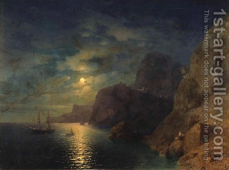 Sea at night 4 by Ivan Konstantinovich Aivazovsky - Reproduction Oil Painting