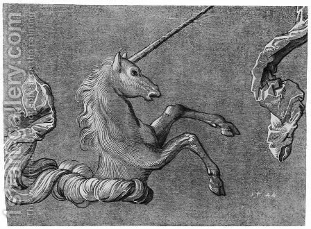 A study of Unicorn by Hans Baldung  Grien - Reproduction Oil Painting