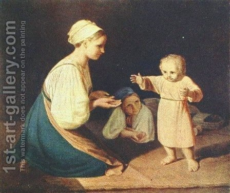 First Steps (Peasant Woman with child) by Aleksei Gavrilovich Venetsianov - Reproduction Oil Painting
