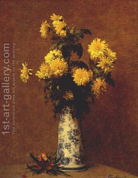 Chrysanthemums 4 by Ignace Henri Jean Fantin-Latour - Reproduction Oil Painting