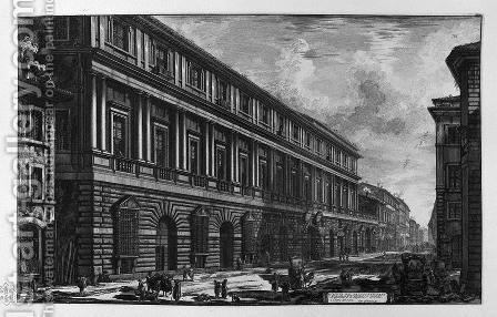 View of Via del Corso, the Palace of the Academy founded by Louis XIV, King of France by Giovanni Battista Piranesi - Reproduction Oil Painting