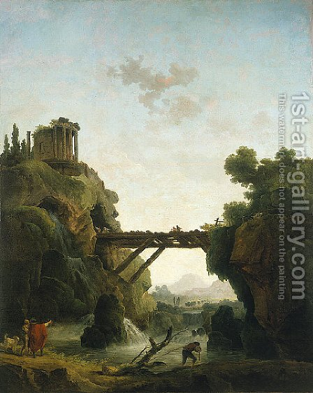 Fantastic View of Tivoli by Hubert Robert - Reproduction Oil Painting