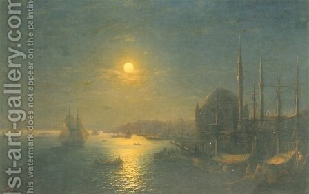 Moonlit view of the Bosphorus by Ivan Konstantinovich Aivazovsky - Reproduction Oil Painting