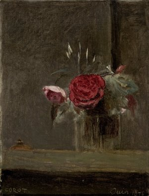 Reproduction oil paintings - Jean-Baptiste-Camille Corot - Roses in a Glass