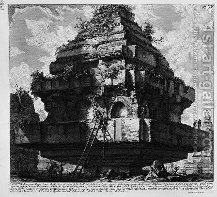 The Roman antiquities, t. 3, Plate XV. View of a large boulder, a relic of the Tomb of the Family Metelli on the Appian Way about five miles from the Porta S. Sebastian, in the Hamlet of S. Maria Nuova, etc. by Giovanni Battista Piranesi - Reproduction Oil Painting